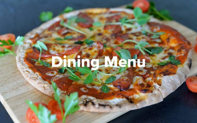 A pizza from the dining menu at Rowers on Cooks River