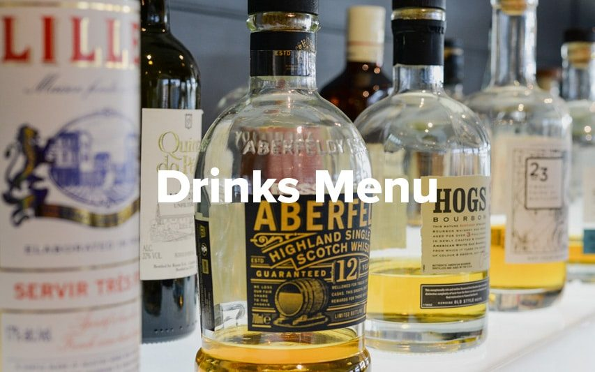 A selection of spirits from the drinks menu at Rowers on Cooks River